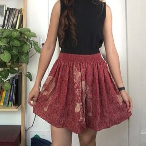 Circle skirt with fox print